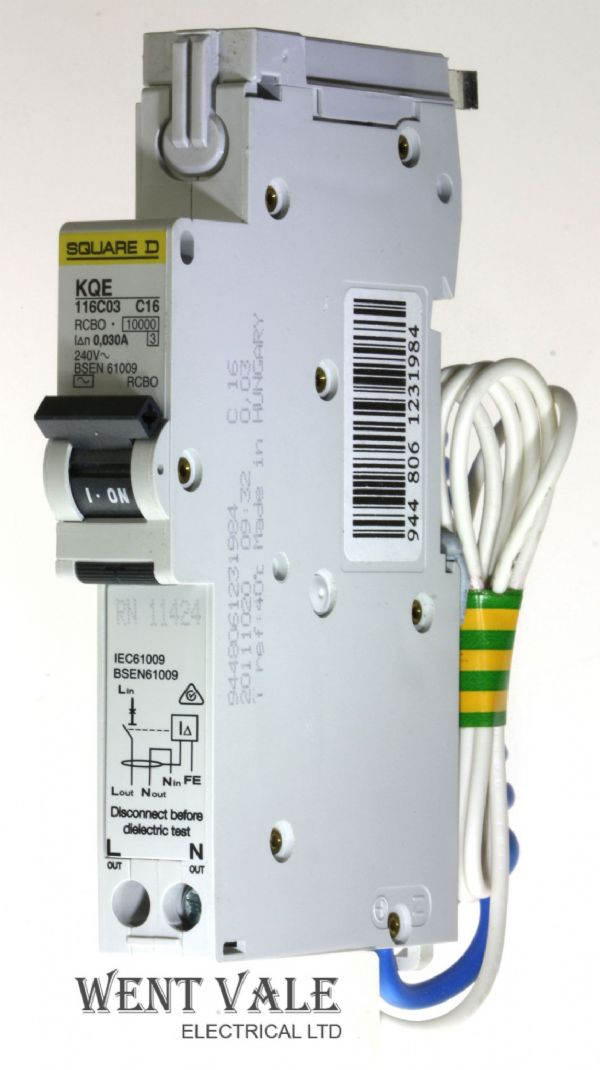 Square D Loadcentre - KQE116C03 - 16a 30mA Type C Single Pole RCBO Used